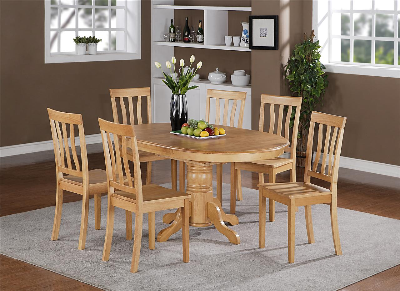 oak kitchen table and chairs modern pulls 7pc berlin oval dinette dining set with 6