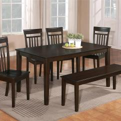 Kitchen Table With Bench And Chairs Cutting Board 6 Pc Dinette Dining Room Set W 4 Wood Chair