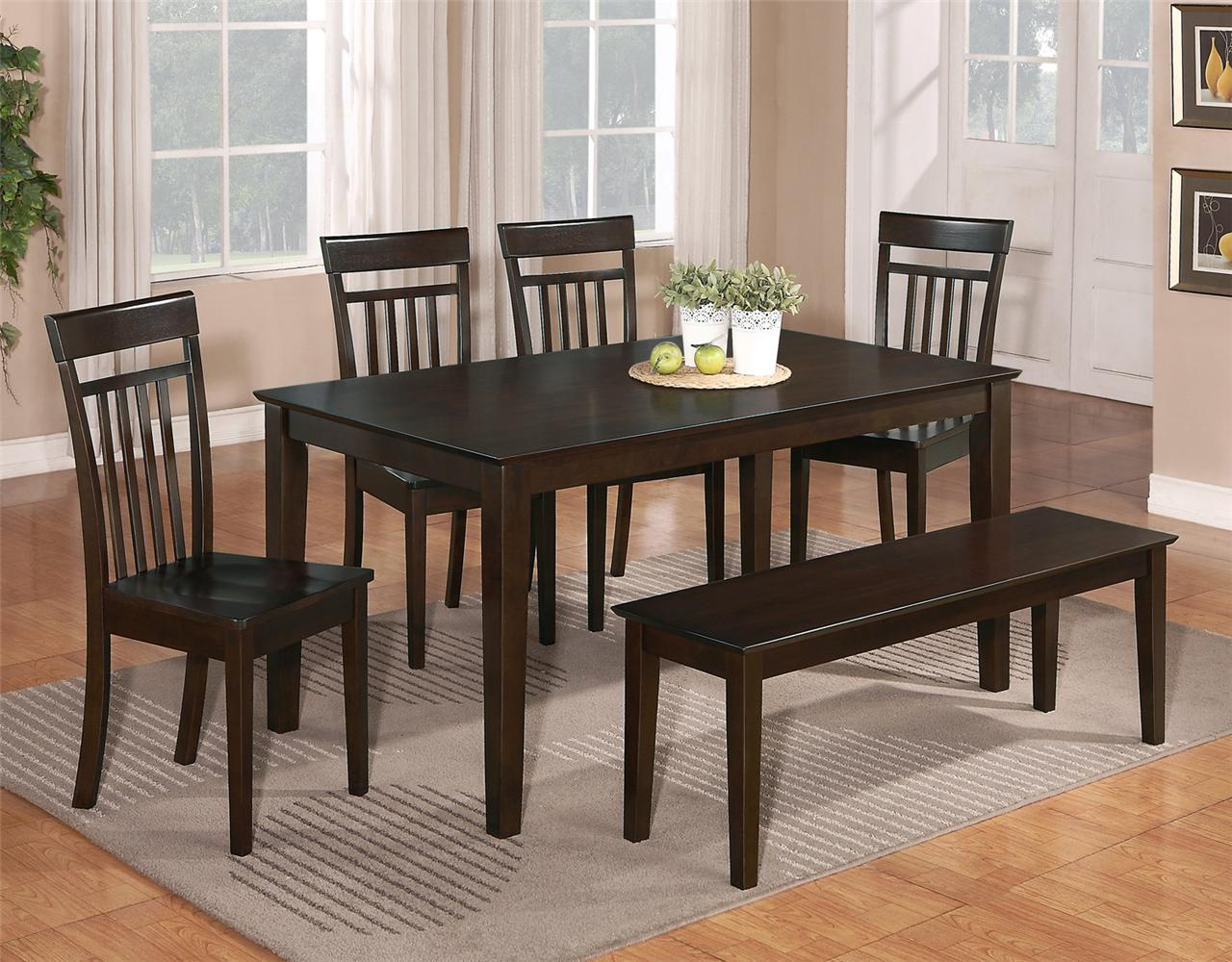 Dining Chairs Set 6 Pc Dinette Kitchen Dining Room Set Table W 4 Wood Chair