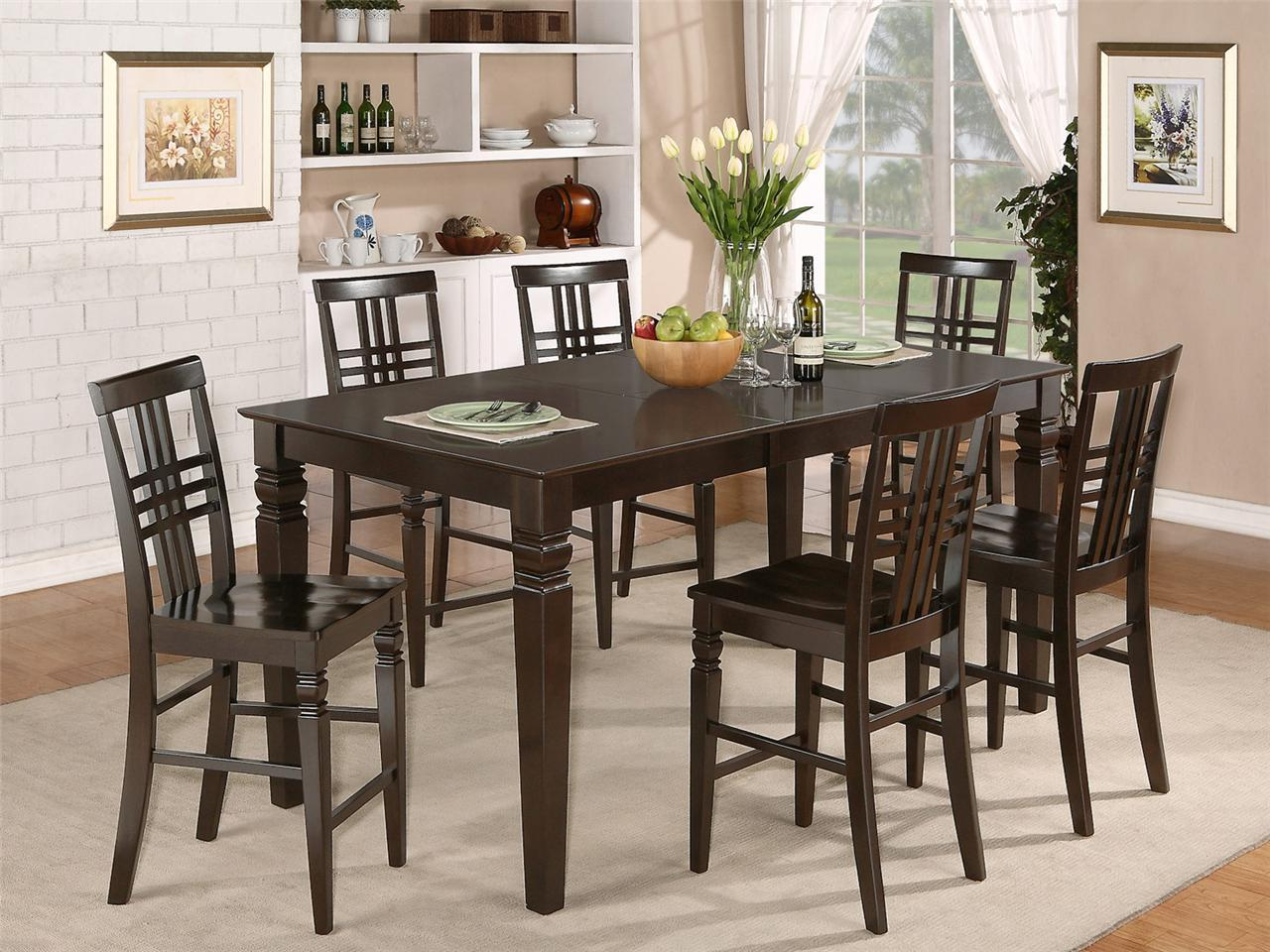 Bar Height Kitchen Table And Chairs 7pc Rectangular Counter Height Dining Room Table Set And 6