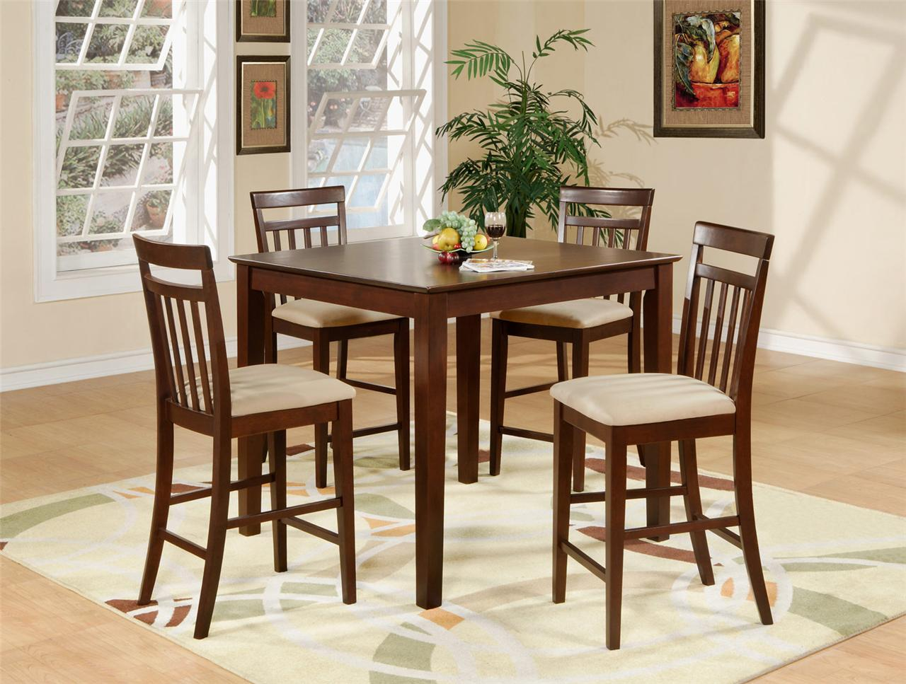 tall kitchen table and chairs folding lawn 5pc square pub counter height dining 4 padded