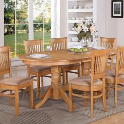 Oak Kitchen Table And Chairs Wall Splash Guard 7 Pc Vancouver Oval Dinette Dining W 6