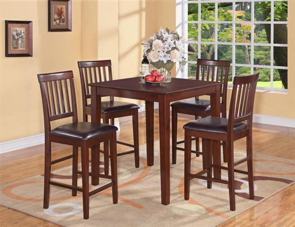 5pc Vernon Square Counter Height Kitchen Table With 4 Leather Chairs. Mahogany