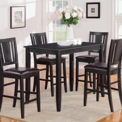 Bar Height Tables And Chairs Vibrating Gaming Chair 5pc Rectangular Counter Table 30x48 With 4 Leather