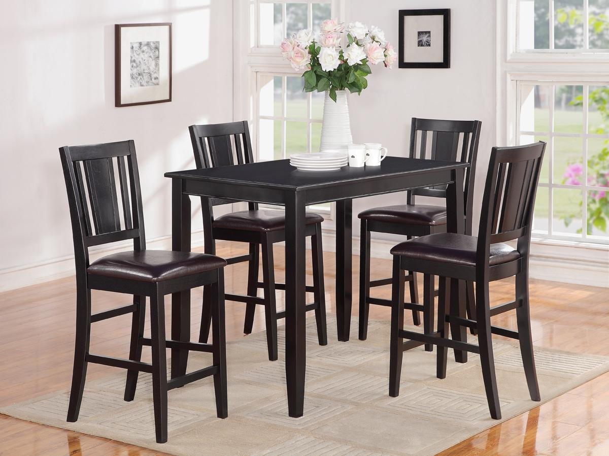 Bar Height Kitchen Table And Chairs 5pc Rectangular Counter Height Table 30x48 With 4 Leather