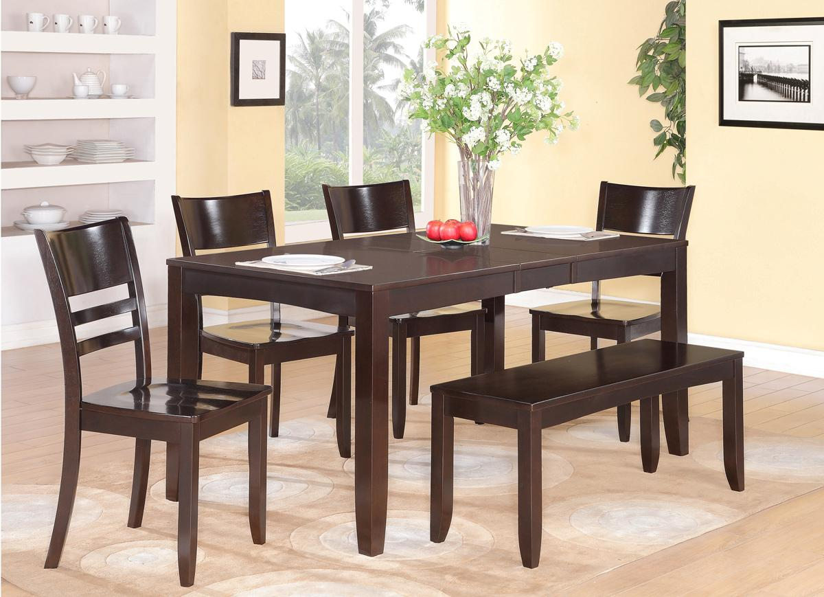 6PC RECTANGULAR DINETTE KITCHEN DINING TABLE WITH 4 WOOD
