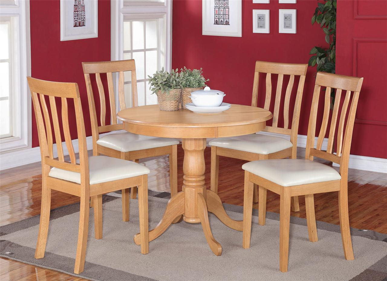 Round Kitchen Table And Chairs Set 3pc Dinette Kitchen Set 36 Quot Round Table W 2 Leather