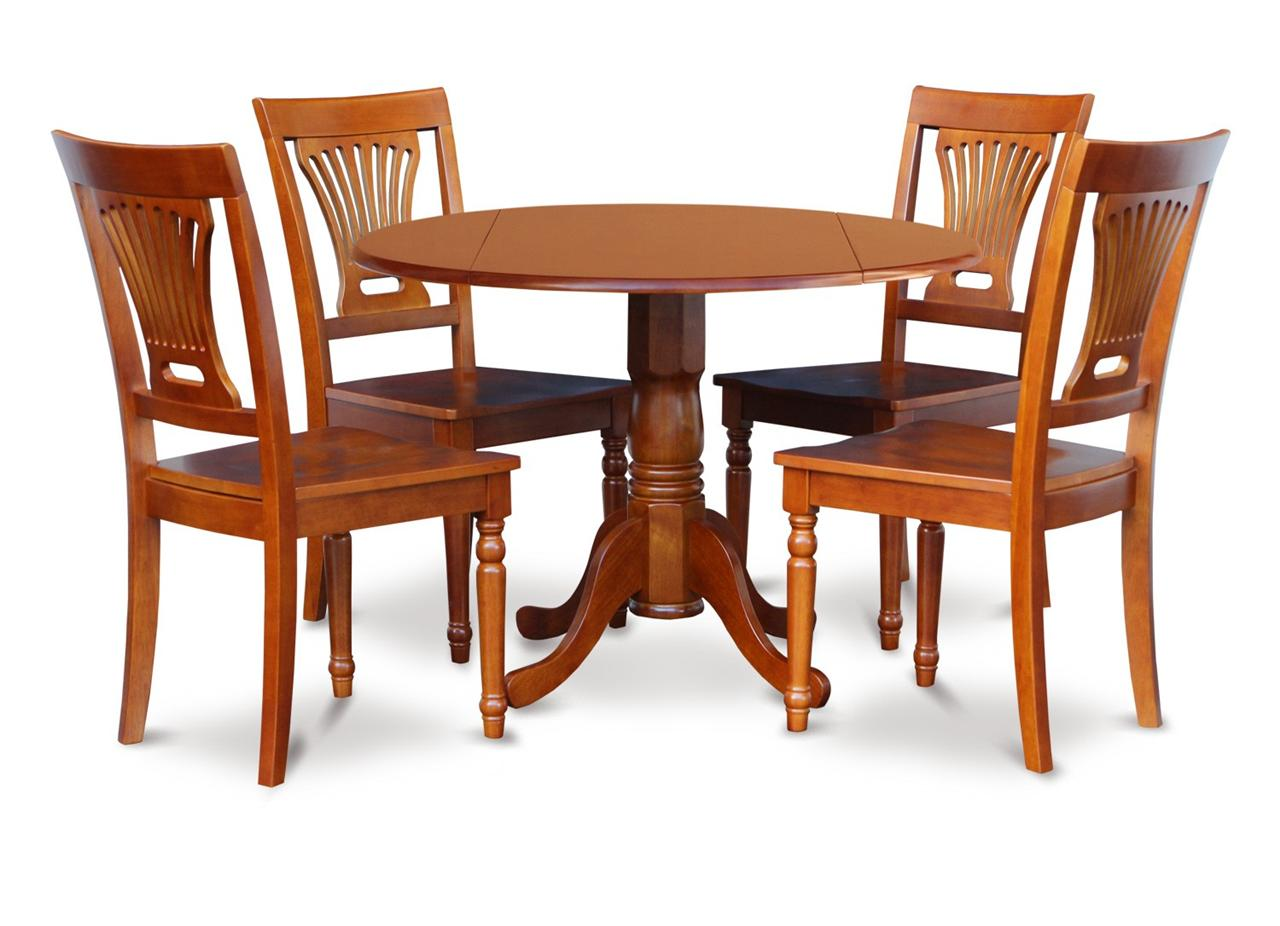 5PC 42 ROUND DINETTE DINING TABLE with 4 PLAIN WOOD SEAT
