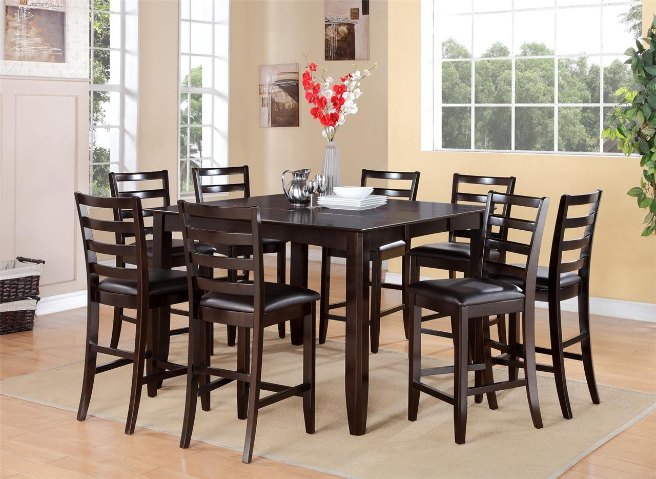 8 chair square dining table wheelchair rental nyc 9pc counter height room with leather