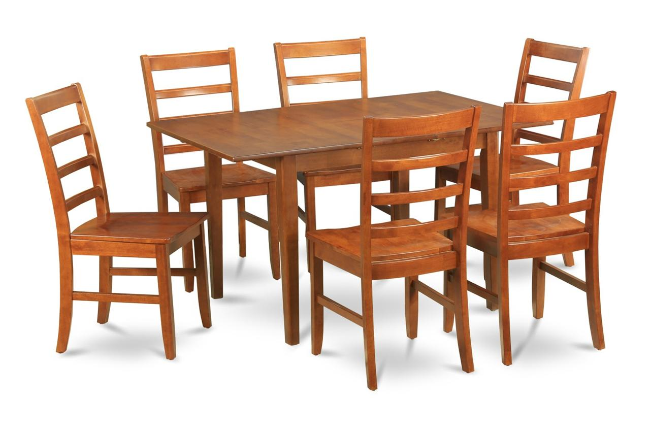 Rectangle Kitchen Table And Chairs 7 Pc Rectangular Dinette Kitchen Dining Table 6 Wood Seat