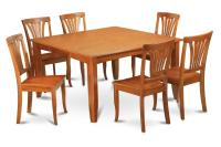9PC SQUARE DINETTE KITCHEN DINING TABLE SET 8 WOOD CHAIRS ...