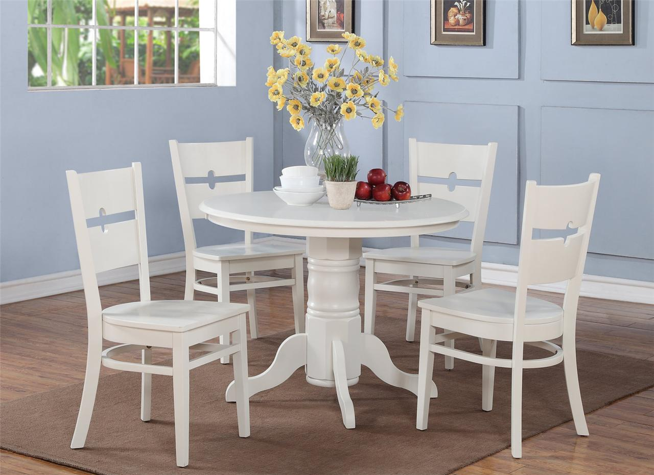 5 PC SHELTON 42 IN ROUND KITCHEN DINETTE TABLE  4 CHAIRS