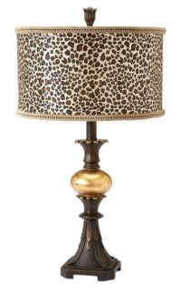 Table Accent Lamp Gold Leopard Animal Print Drum Shade | eBay