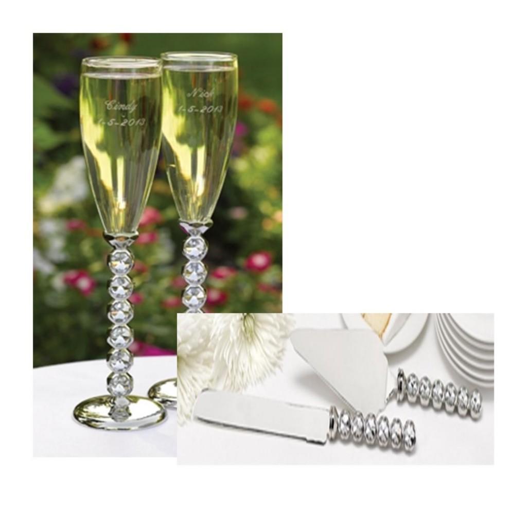 Wedding Flute Diamond Toasting Flute Cake Serving Set