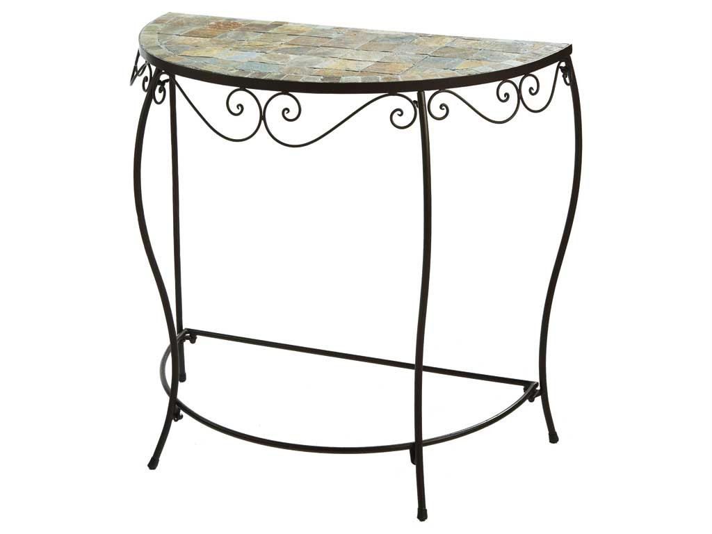 Console Accent Table Small Half Round Mosaic Tile Iron