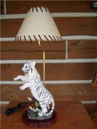 WHITE TIGER TABLE LAMP WITH SHADE & BULB DESK LIGHT | eBay