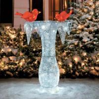 "42"" Lighted Pre Lit CHRISTMAS CARDINAL BIRD BATH Outdoor ..."