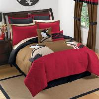 KING Black Red Brown ASIAN INSPIRED JAPANESE Comforter