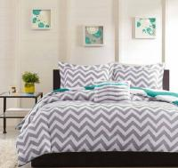 MODERN TEEN Gray White Blue GEOMETRIC ZIGZAG STRIPE DUVET ...