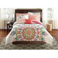 Girls Peach Pink White GLOBAL MEDALLION Comforter Bedding
