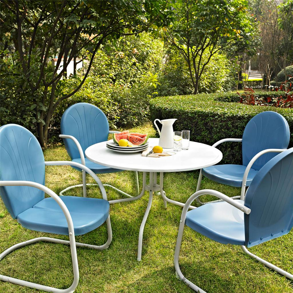 Outdoor Chair Set Blue White Outdoor Metal Retro 5 Piece Dining Table