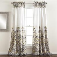 Grey Gray Yellow White Modern Global Paisley Curtains Set ...