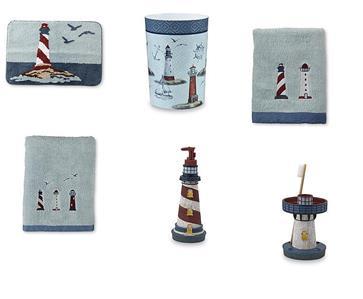 6 Piece Nautical Ocean Lighthouse 6pc Bathroom Accessory
