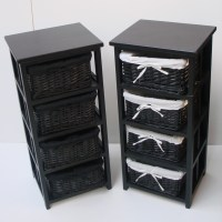 4 BLACK BASKET DRAW BATHROOM STORAGE UNIT FLOOR CABINET | eBay