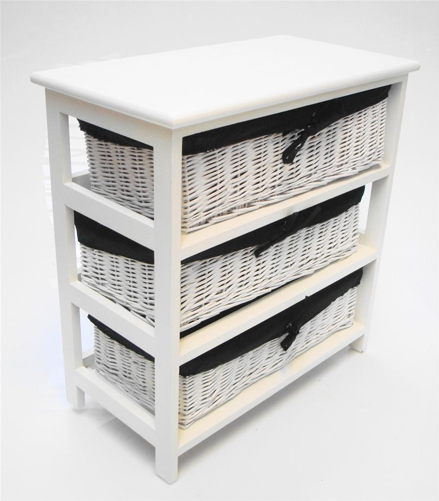 WHITE WIDER BASKET CHEST OF DRAWER BEDSIDE KIDS BEDROOM