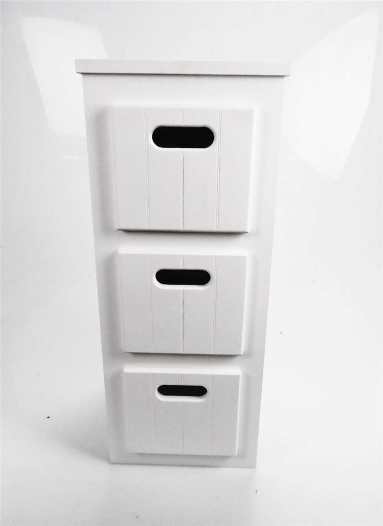 REDUCED White Wooden Narrow 3 Chest of Drawers Bedside