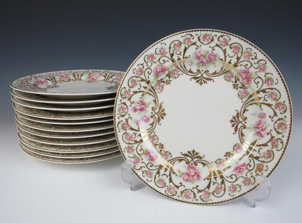 Set 12 Antique Haviland Limoges Cabinet Plates Pink Roses