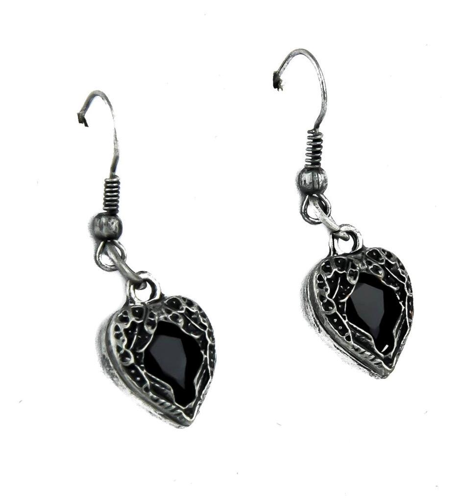 Black Stone Heart Wings Earrings Gothic Jewelry Punk Gloom