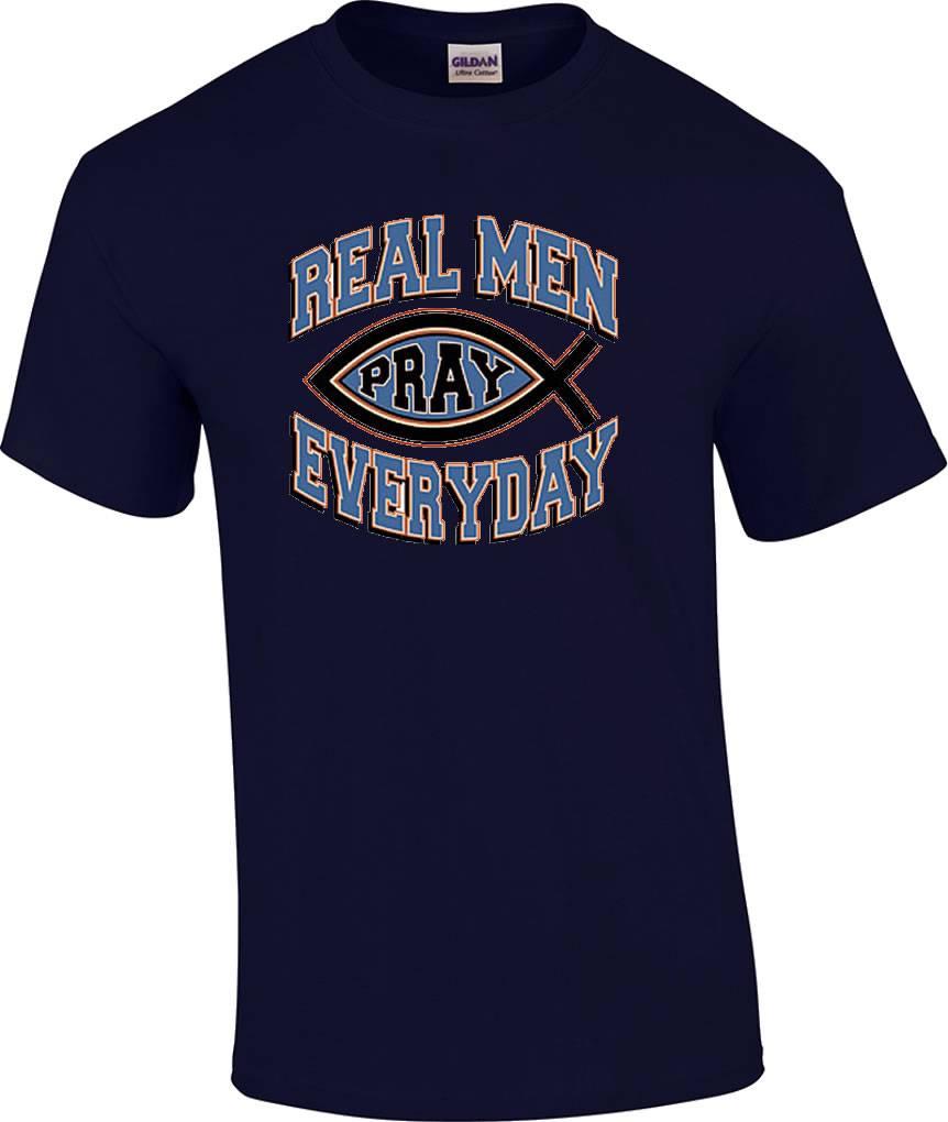 TALL Christian Real Men Pray Religious Prayer TShirt  eBay