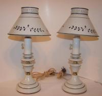 Pair Of Vintage Toleware Small Kitchen Counter/Table Lamps