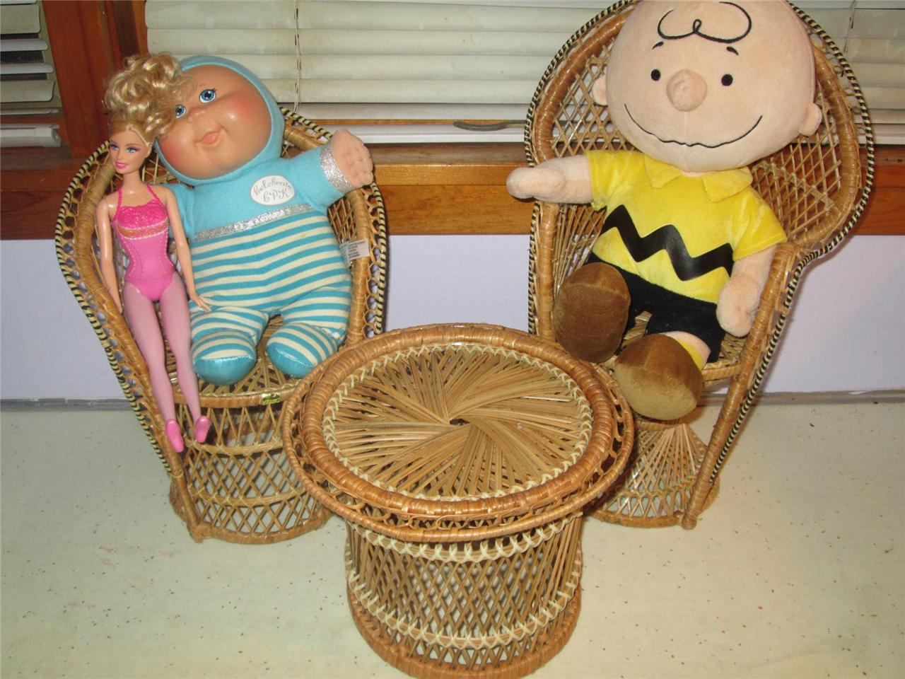 2 chairs and table rattan kidkraft farmhouse chair set natural 3 vintage wicker doll bear furniture