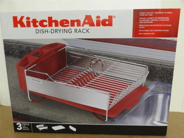 Kitchenaid Dish Drying Rack 3 Piece Red Drainer