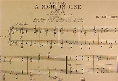Great 1927 Give Me A Night In June Sheet Music Great To