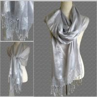 Lightweight SILVER GREY Pashmina Shawl Scarf for Evening ...