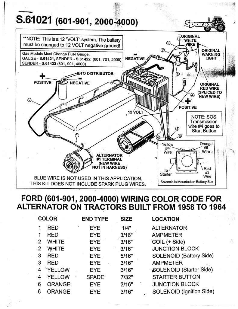 ford 8n 12v conversion wiring diagram manufactured home diagrams naa 600 601 800 801 tractor alternator alt harness naa10301 | ebay