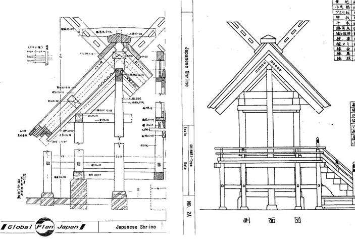 Japanese Traditional House Plan SHRINE 4-Types Building