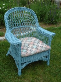 ANTIQUE WICKER CHAIR TURQUOISE WICKER CUSHION INCLUDED   eBay