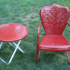 Retro Metal Patio Chairs Biggest Bean Bag Chair In The World Vintage Motel Bouncy Lawn And Sidetable Ebay