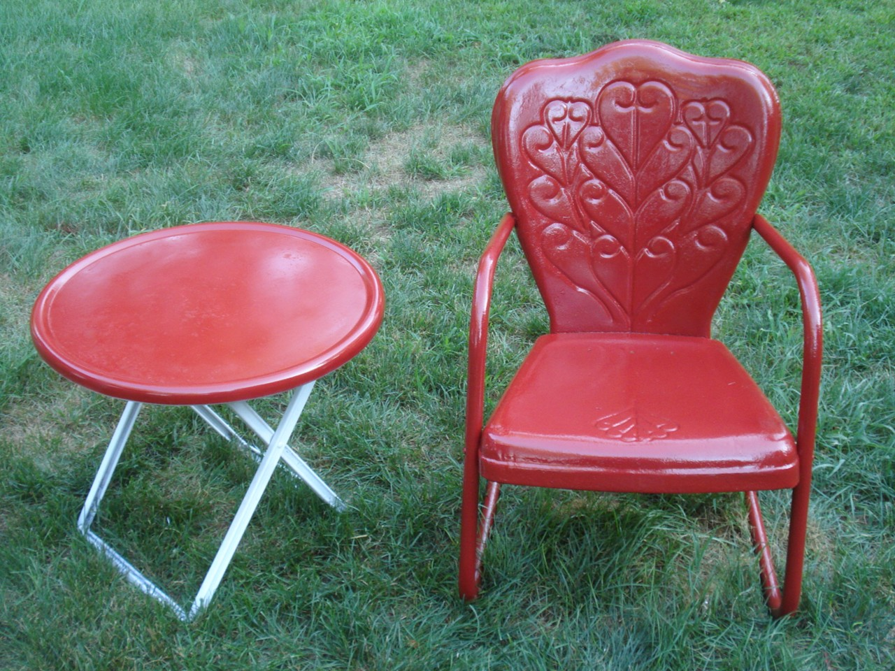 Bouncy Chair Vintage Motel Chair Bouncy Metal Lawn Chair And Sidetable Ebay