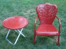 Vintage Motel Chair Bouncy Metal Lawn & Sidetable