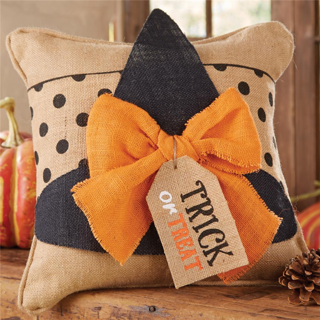 Mud Pie Halloween Witch Hat Burlap 15 Square Throw Pillow Insert and Wrap Set  eBay