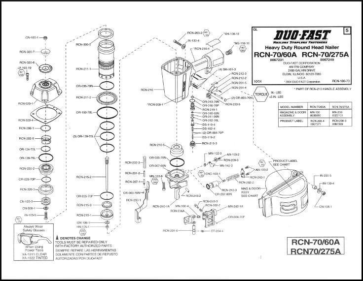 Duo-Fast Coil Nailer RCN-70/60A RCN-70/275A O ring Rebuild