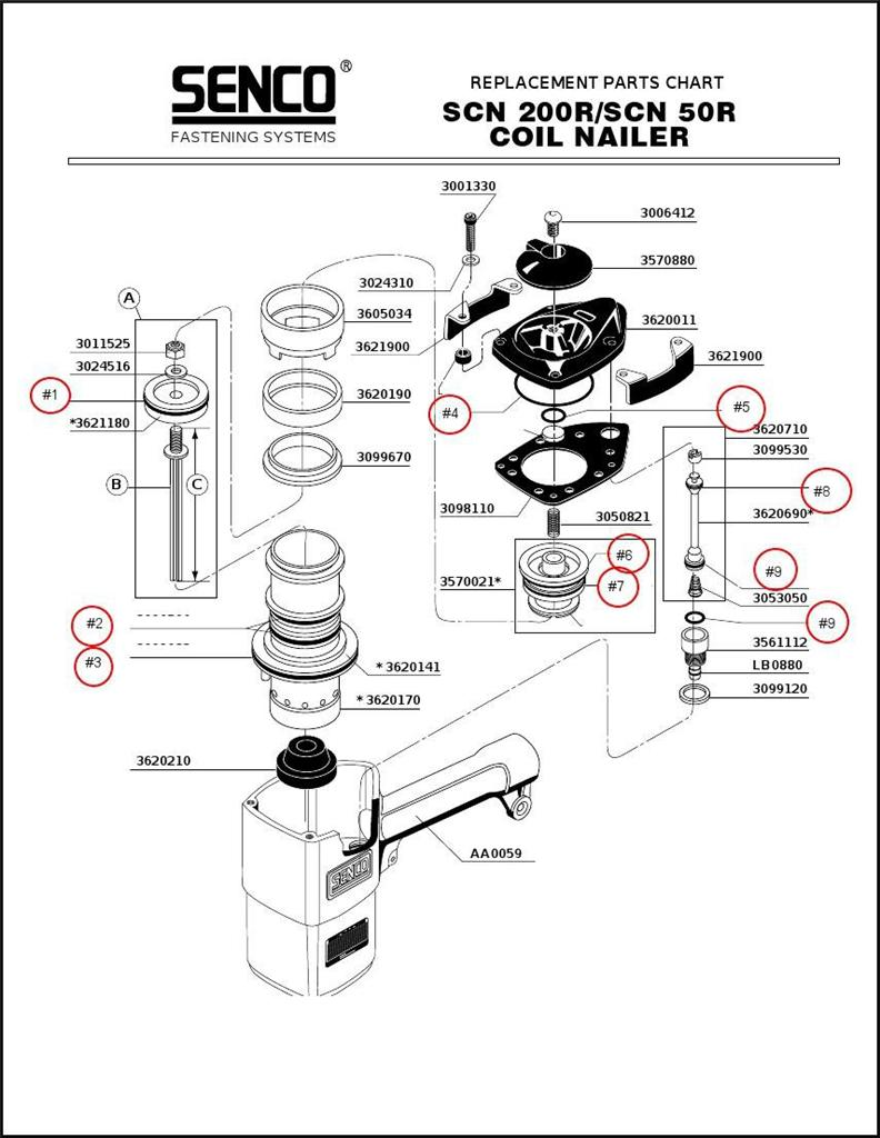 Senco Roofing Nailer SCN200R O-ring Rebuild Repair Kit