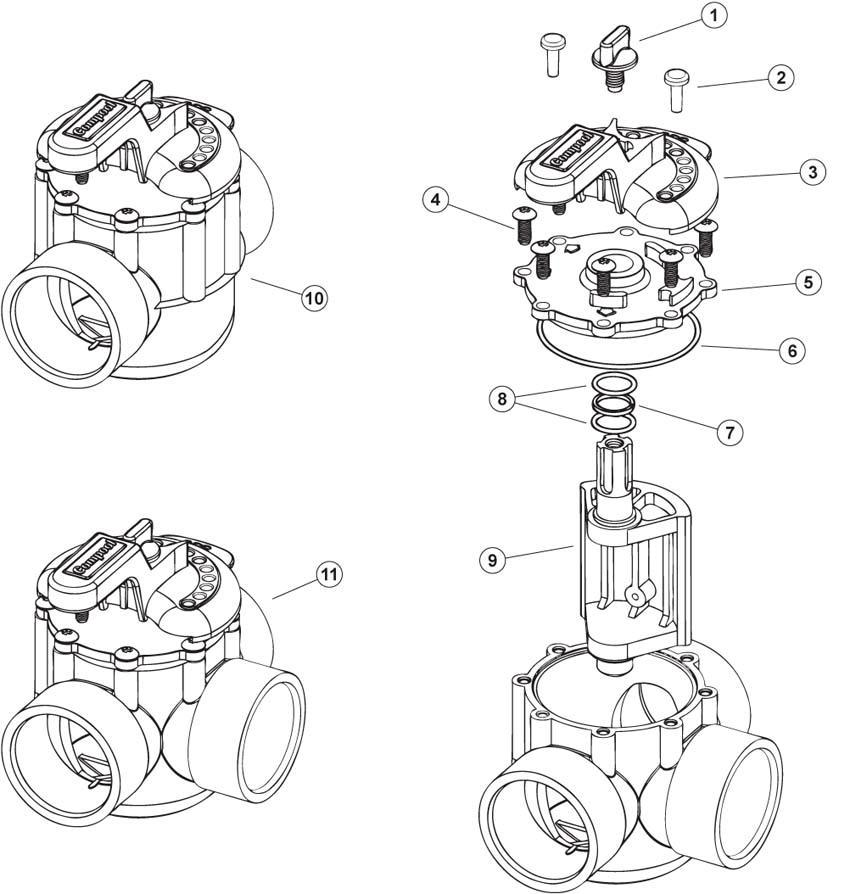 Pentair, PacFab & Compool 2 & 3 way valve o-ring kit 1