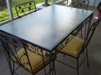 Vintage Wrought Iron Patio Table and 4 Chairs Glass Top ...