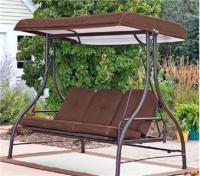 Outdoor 3 Triple Seater Hammock Swing Glider Canopy Patio Deck